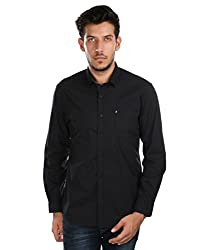 Oxemberg Men's Solid Casual 100% Cotton Black Shirt