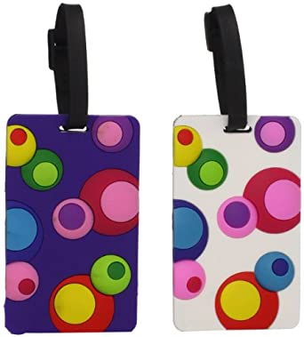 Travelon Set Of 2 Luggage Tags Inner Circles Assorted, Assorted, One Size