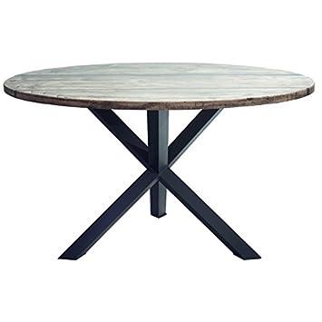 Indhouse Plat–Table de restaurant loft style industriel en métal et bois Lenox
