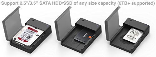 Sabrent USB 3.0 to SATA External Hard Drive Lay-Flat Docking Station with Built-in Cooling Fan for 2.5 or 3.5in HDD, SSD [Support UASP and 6TB] (EC-DFFN)