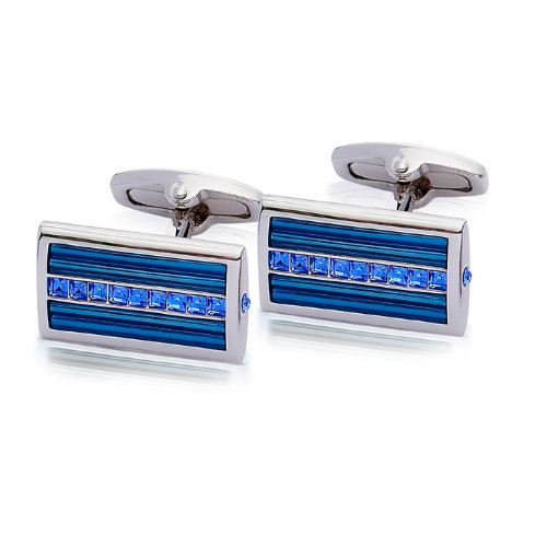 Square Mile Sapphire Crystals and Blue Enamel Cufflinks