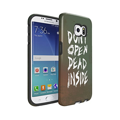 The Walking Dead Dont Open Dead Inside Samsung Galaxy S6 EDGE Dual Layer Hybrid, Silicone & Hard Plastic Armor Tough Phone Case Cover