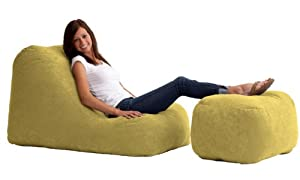 Comfort Research Wedge and Ottoman in Comfort Suede, Sand Dune