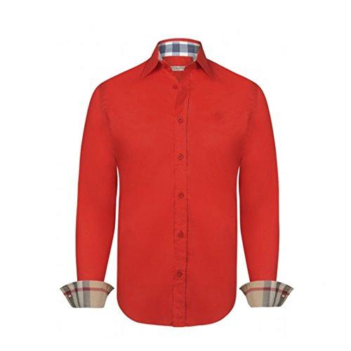 BURBERRY Camicia Uomo Manica Lunga Colore Rosso - Red (L, Rosso)