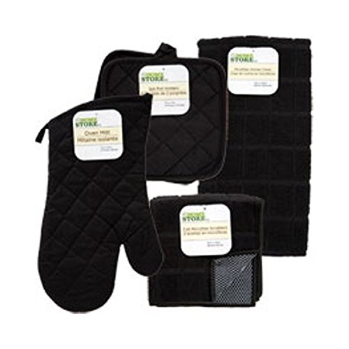The Home Store Black Windowpane Pattern Kitchen Linens Collection (Pot Holders And Oven Mitts Sets compare prices)