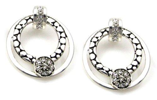 Crystal Circle Drop Clip Earrings
