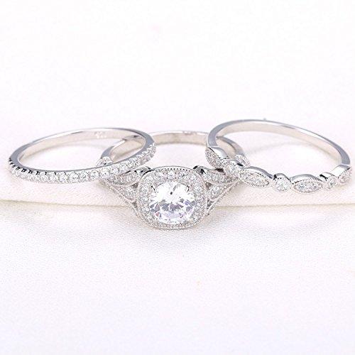 Newshe Bridal Set 2ct Round Cut White Cz 925 Sterling Silver Wedding Engagement Ring Set Size 8