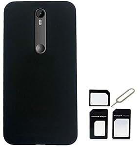 Tidel Rubberized Back Cover For Motorola Moto G Turbo Edition (Black) With MICRO/NANO SIM ADAPTER