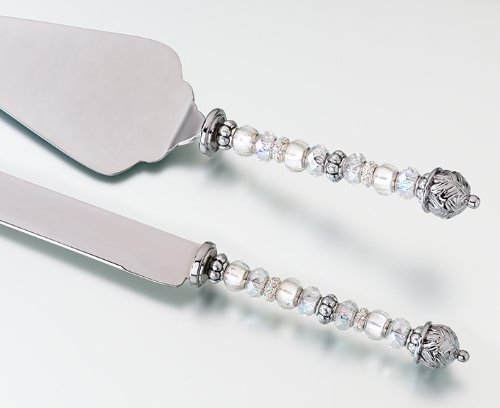 Lillian Rose 12.75-Inch Silver Beaded Knife and Server Set