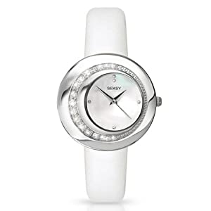 Seksy by Sekonda Women's Quartz Watch with Mother of Pearl Dial Analogue Display and White Leather Strap 4487.37