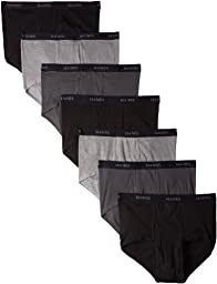 Hanes Men\'s 7 Pack Ultimate Full-Cut Briefs - Colors May Vary, Black/Grey, X-Large