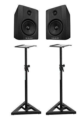 M-Audio-BX5-D2-Studio-Monitore-Paar-SET-mit-Pronomic-Stativen-70-Watt-5-Tieftner-mit-Kevlarmembran-1-Hochtner-mit-Seidenmembran-XLR-Klinke-magnetisch-abgeschirmt-inkl-Absorberplatte-Netzkabel-2-x-hhen