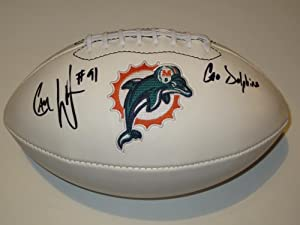 Cameron Wake #91 Miami Dolphins Signed Autographed Logo Football Authentic Certified