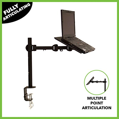 NavePoint Laptop Notebook C-Clamp Desk Stand Mount With Fully Adjustable Extension Arm Black Notebook Arm Desk