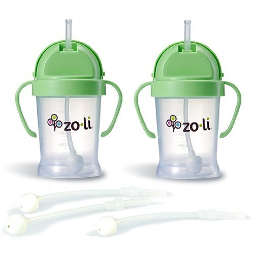 Zoli BOT Sippy Cups - Green (2 Pack) WITH 3 BOT Replacement Straws. - 1