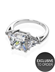 M&S Collection Platinum Plated Trio Diamanté Ring