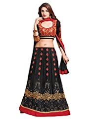 Khushali Presents Women's Multi Embroidered Semi-Stitched Lahenga With UnStitched Blouse Piece.(Black,Red)