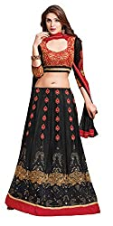 Khoobee Presents Women's Multi Embroidered Semi-Stitched Lahenga With UnStitched Blouse Piece.(Black,Red)