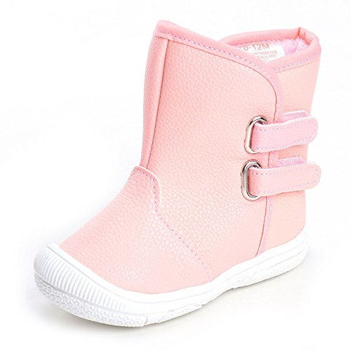 Enteer Infant Baby Girls' Soft Rubber Sole Anti-Slip Warm Winter Prewalker Leather Toddler Boots (7-12 Months, pink)