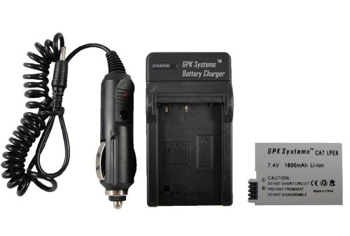 Gpk Systems Battery & Charger For Canon Eos Rebel T2I T3I T4I 550D 600D Kiss X4 X5 Digital Slr Camera 1800Mah Li-Ion Rechargeable Canon Lc-E8 Battery Charger Cbc-E8
