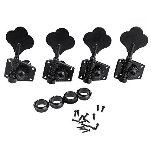 Hooshion® 4R Electric Bass Tuners Machine Heads Tuning Pegs Keys Set Black