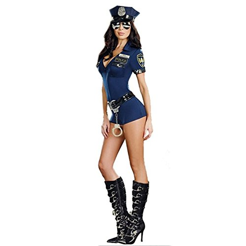 SSQUEEN Sexy Police Woman Uniform Cop Dress Traffic Cop Hollaween Costume
