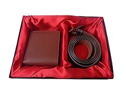 Good Life Stuff Leather Brown Combo Gift Set of Wallet and Belt (GLSGCM-C007)