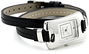 Nine West Women's NW/1313SVBK Silver-Tone Black Double Wrap Strap Watch