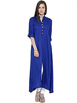 ILLAHI Solid Blue/Black/Yellow Long Women's Kurta