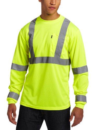 Key Apparel Men's Big-Tall Long Sleeve High Visibility Waffle Weave Reflective Stripe Pocket Tee Shirt, Hi-vis, 4X-Large-Regular