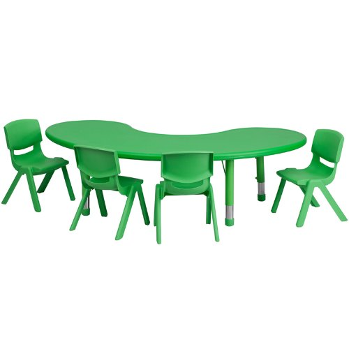 Flash Furniture 35'' X 65'' Adjustable Half-Moon Green Plastic Kids Activity Table Set With 4 School Stack Chairs [Yu-Ycx-0043-2-Moon-Tbl-Green-E-Gg] front-64275