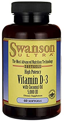 buy High Potency Vitamin D-3 With Certified Organic Coconut 5,000 Iu 60 Sgels