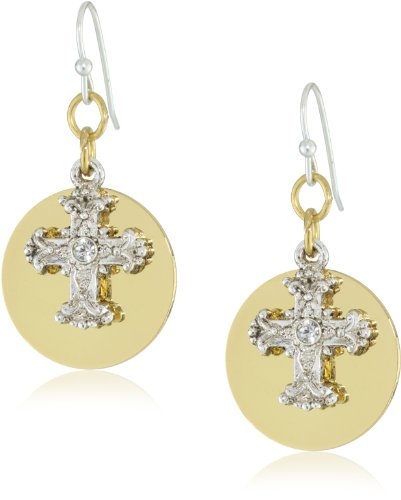 The Vatican Library Collection Gold-Tone and Silver-Tone Crystal Cross Round Earrings