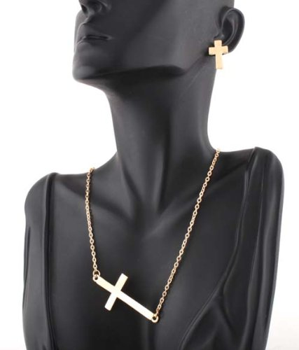 Ladies Gold Metal Sideways Cross Necklace with Matching Earrings Jewelry Set