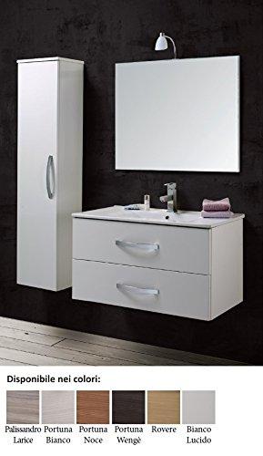 Mobile da bagno con lavabo e specchio sospeso composizione Arredo arredamento Bianco Lucido moderno
