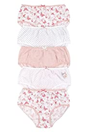 5 Pack Pure Cotton Butterfly Print Briefs