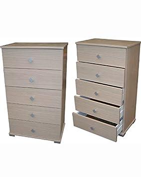 Mueble cajonera 5cajones madera cm 55x 34x 91h cm arredo casa color roble blanqueado