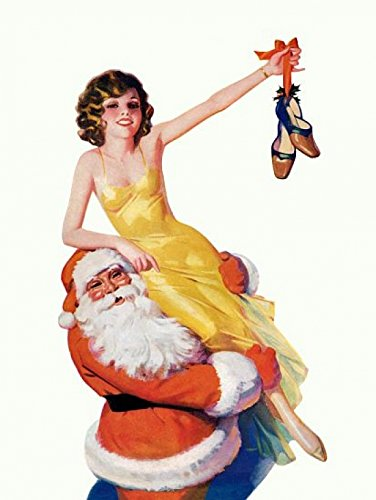 Pinup Brunette On Santa Claus Poster Print (18 x 24)