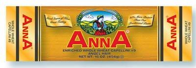 Anna Whole Wheat Capellini #9 1 Lb Bags, Pack of 10
