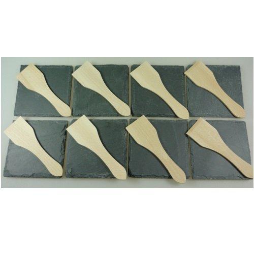 Viva-Haushaltswaren-Raclette-Zubehr-Set-fr-8-Personen-bestehend-aus-8-Schieferplatten-B-Ware-2Wahl-und-8-Racletteschabern-aus-Holz