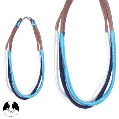 sg paris teenager necklace necklace 3 rows 40 cm + ext multi blue fabrics