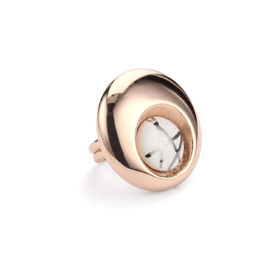 Invicta Incanto 18k Rose Gold Plated and White Ceramic Adjustable Ring