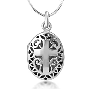 Chuvora Oxidized 925 Sterling Silver Open Filigree Christian Cross Oval Shaped Locket Necklace 18''