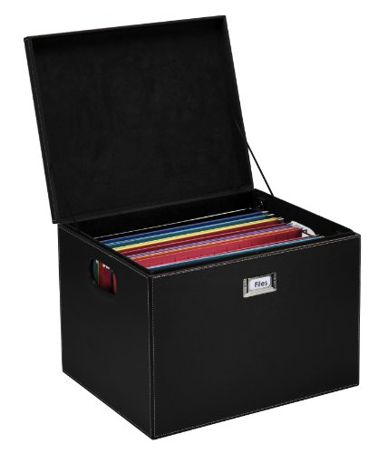 G.U.S. Decorative Office File and Portable Storage Box For Hanging Folders Letter Or Legal, Black (Expresso Storage Bins compare prices)