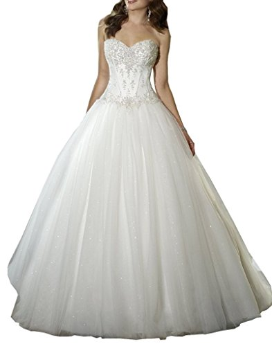 YIPEISHA Sweetheart Beaded Corset Bodice Classic Tulle Wedding Dress 14 White