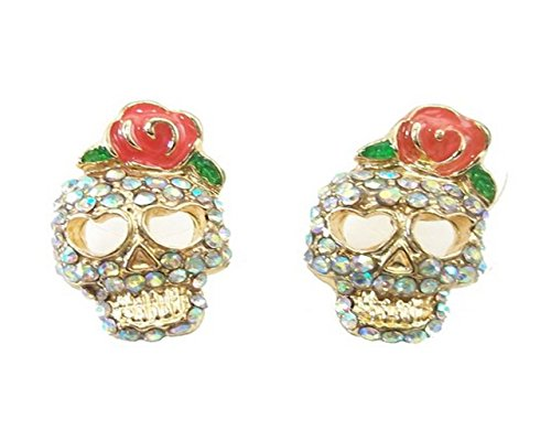 Skulls ! Crystal Pave Skull And Rose Flower Stud Earrings With Gift Box & Organza Bag front-953899