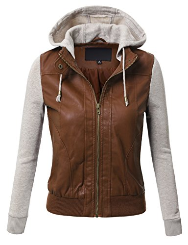 J.Tomson Womens Mixed Fabric Faux Leather Pu Zip-Up Hooded Bomber Moto Jacket Caramel Oatmeal Small
