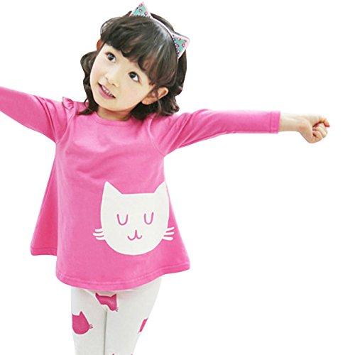 Lalama Little Girls' Cute White Cat Pajama Sleepwear Tops & Pants 2Pcs 3-4Y