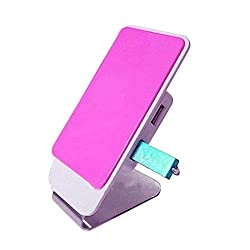 F-EYE® Magnetic Flat Plate Mobile Stand (Pink) With Rotating Anti-slip Silicone Pad For Your Smart Phone, Mobile Phone Holder for your Home and Office,Magnetic Mobile Phone Stand with USB Hub [Mobile Holder for Smart Phone]
