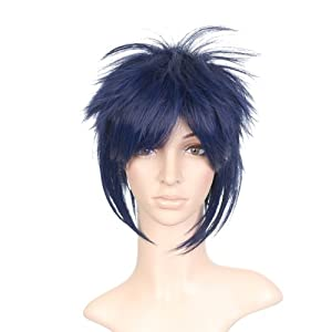 Indigo Blue Styled Short Anime Cosplay Costume Wig with Long Side Bangs
